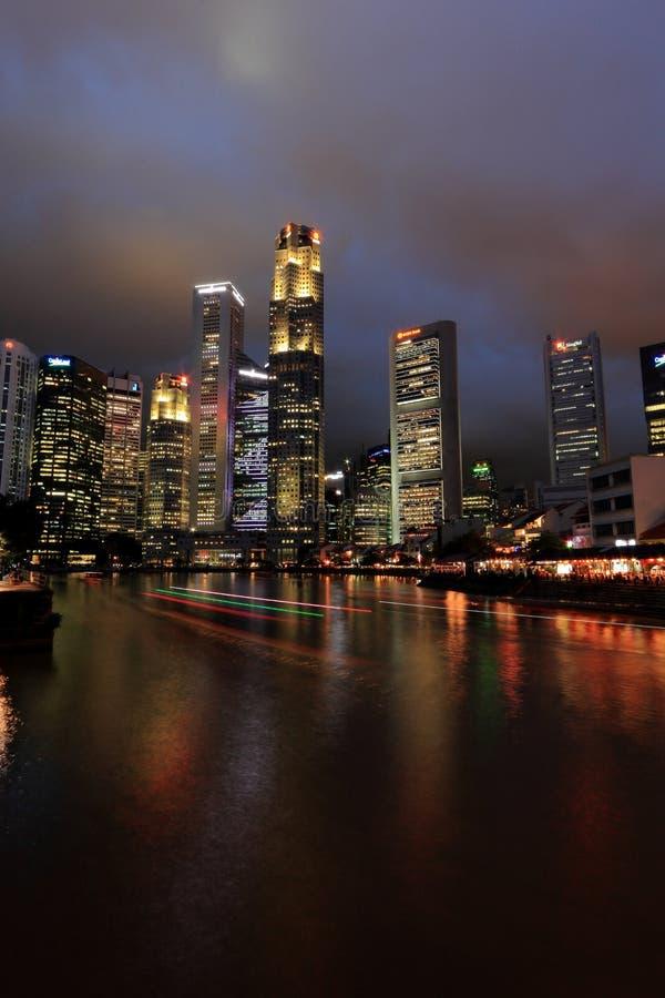 Городской пейзаж Сингапура в вечере стоковая фотография rf