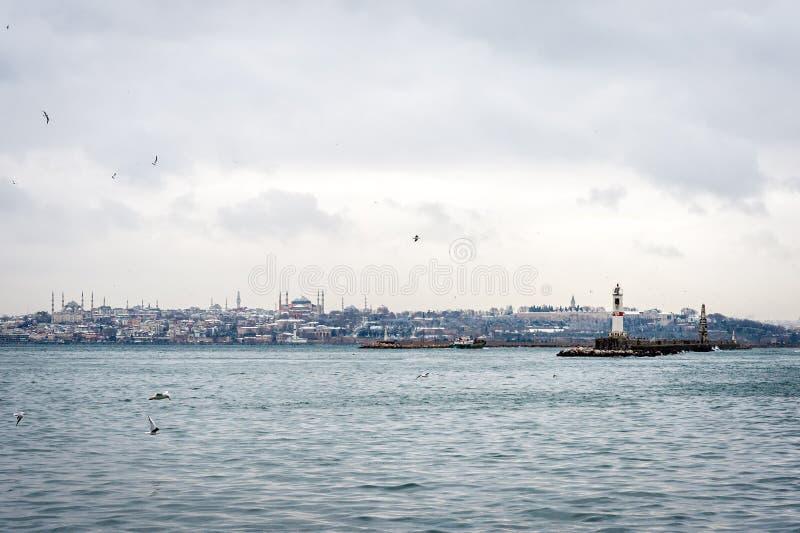 Городской пейзаж Стамбула в зиме стоковые изображения