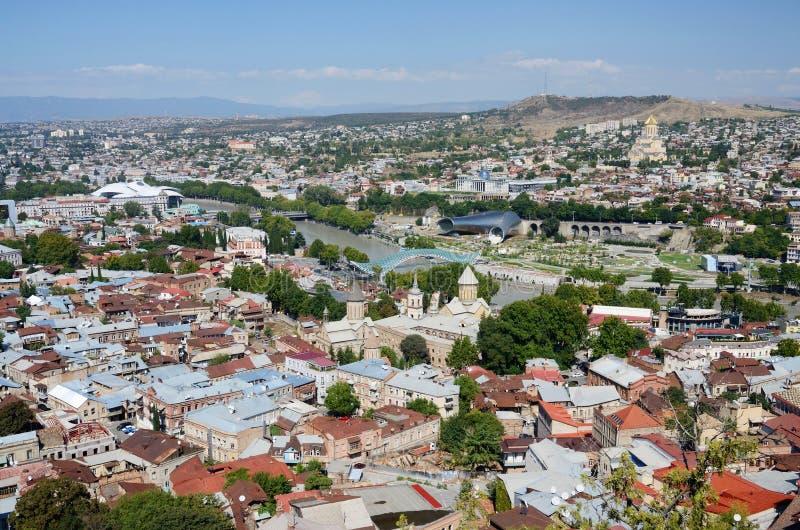 Городской пейзаж старого Тбилиси, взгляд от крепости Narikala, Georgia стоковая фотография rf