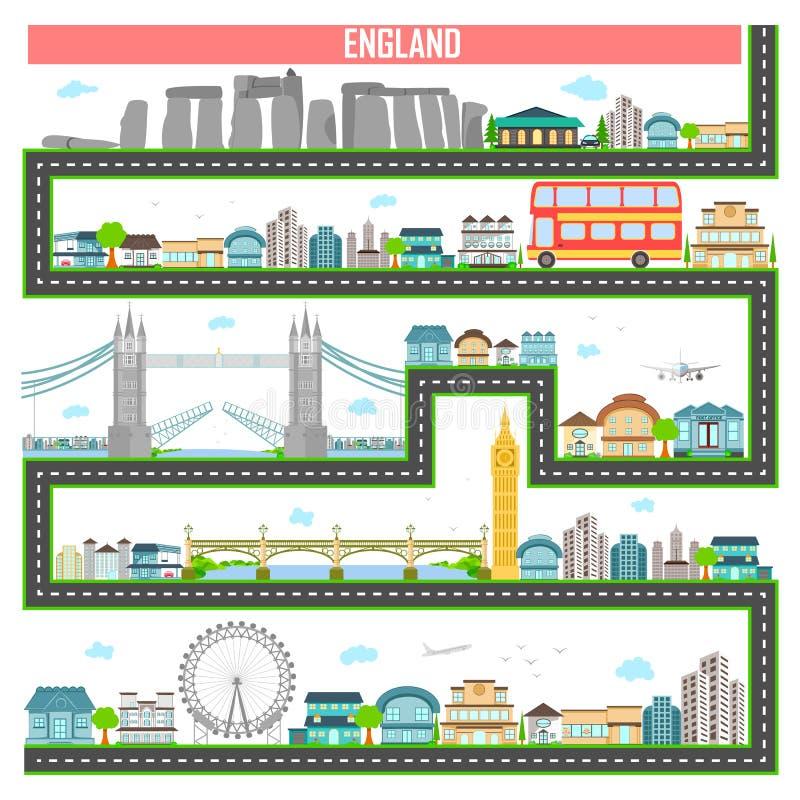 Городской пейзаж с известными памятником и зданием Англии иллюстрация вектора