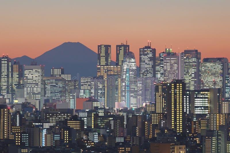 Городской пейзаж токио и гора Фудзи на сумерк стоковые изображения