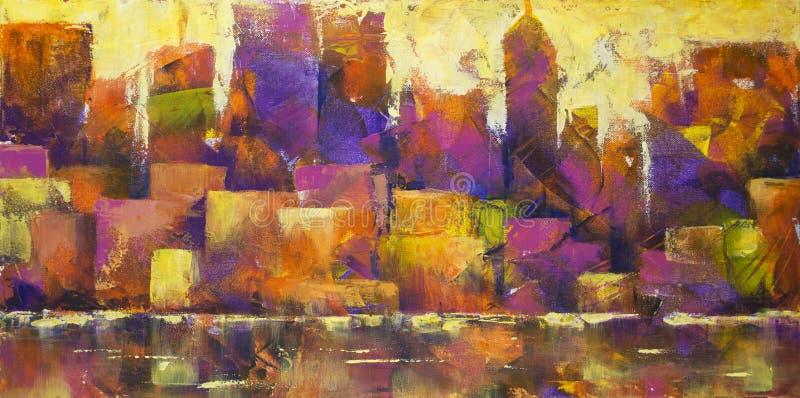 городской пейзаж цветастый иллюстрация штока