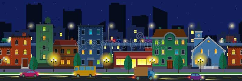 Городской пейзаж широкого экрана в плоском стиле на nighttime бесплатная иллюстрация