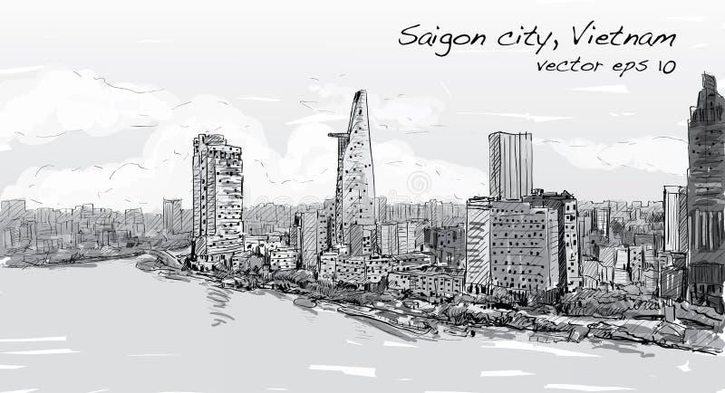 Городской пейзаж эскиза неба выставки Mihn Вьетнама хиа города Сайгона Ho бесплатная иллюстрация