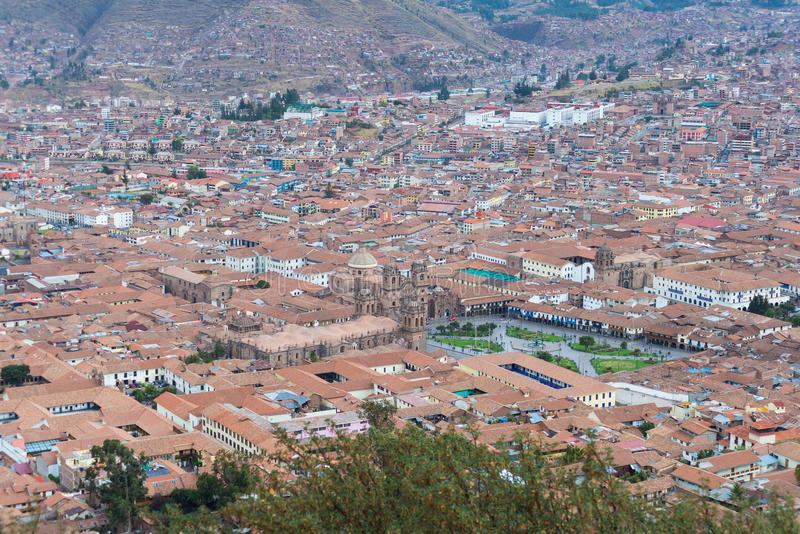 Городской пейзаж Cusco, Перу, сверху стоковые фото