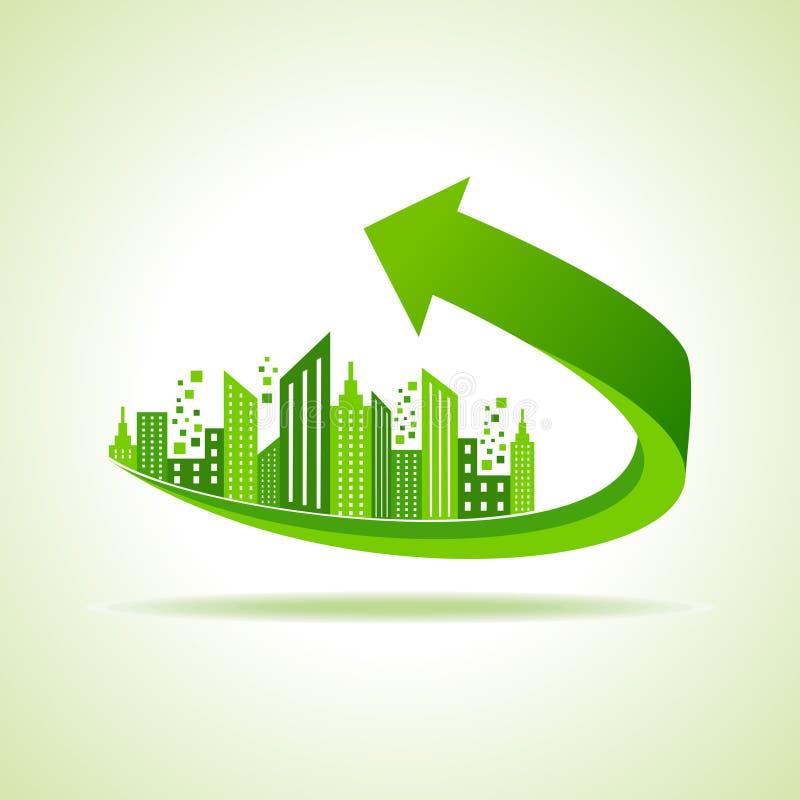 Городской пейзаж Eco - идет зеленая концепция иллюстрация вектора