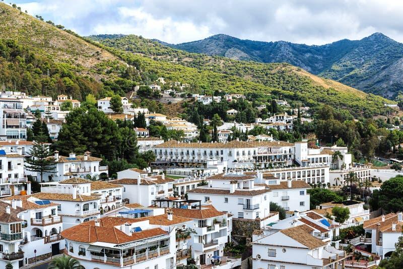 Городской пейзаж Mijas-очаровательной белой деревни в Андалусии, около Малаги, Испания стоковые изображения rf