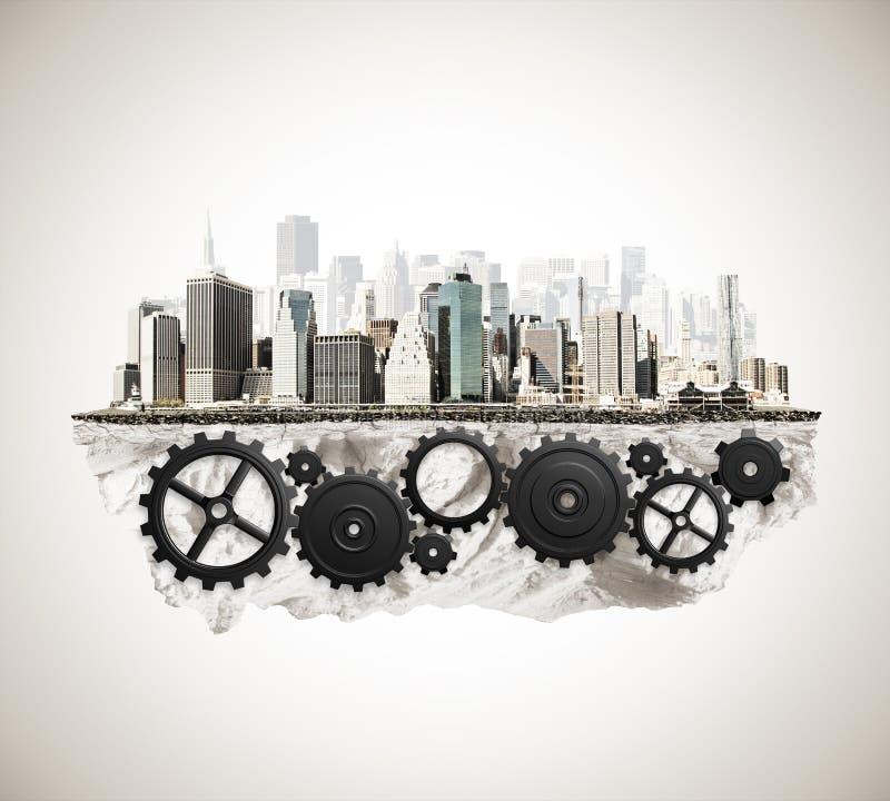 Город с механизмом cogwheel стоковые изображения rf