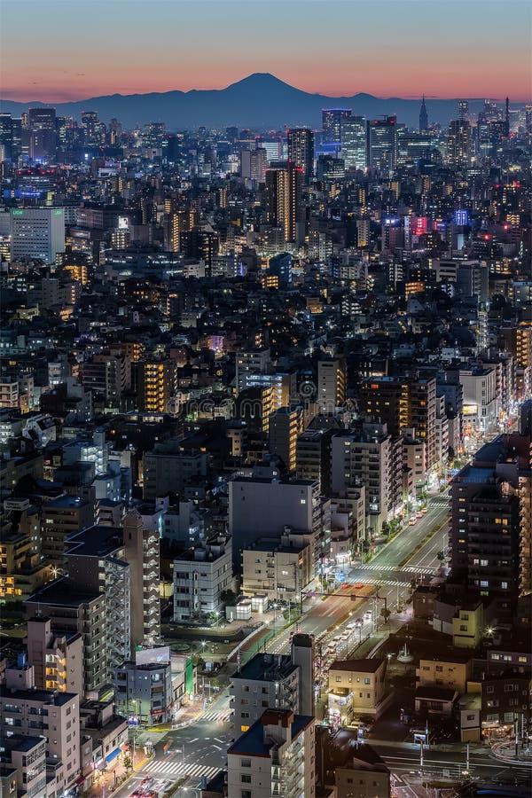 Город токио в вечере с горой Фудзи стоковые фото