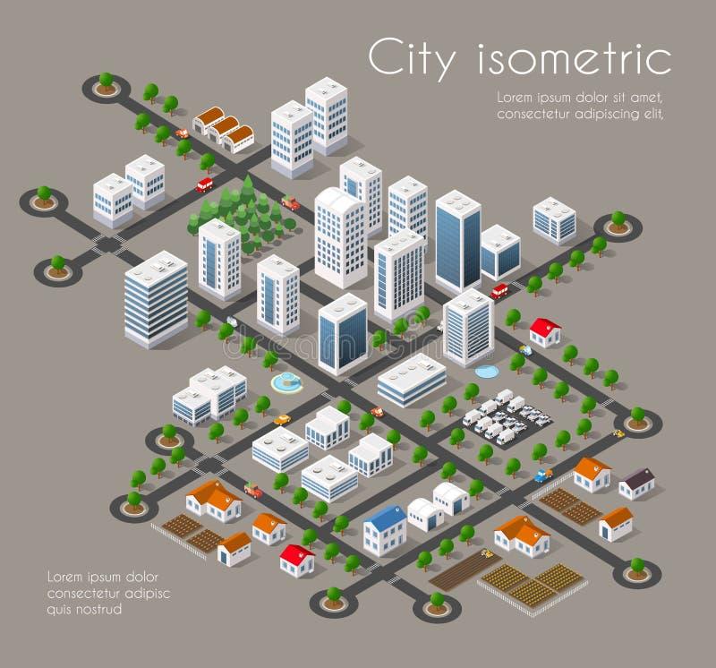 Город транспорта 3D иллюстрация вектора