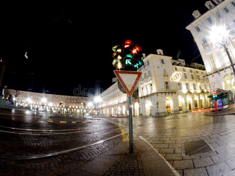Город Турина Италии с светлым движением стоковое изображение