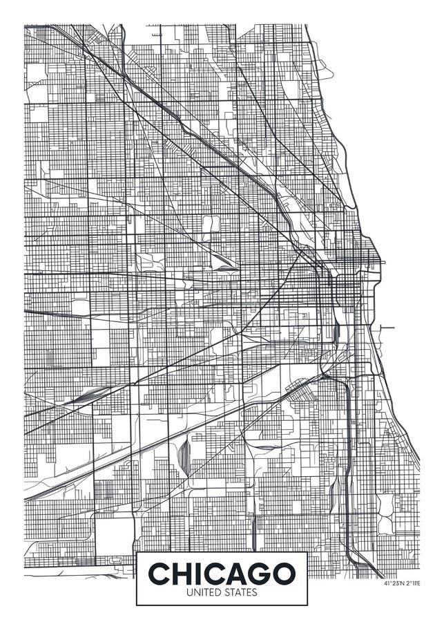 Город Чикаго карты плаката вектора иллюстрация вектора