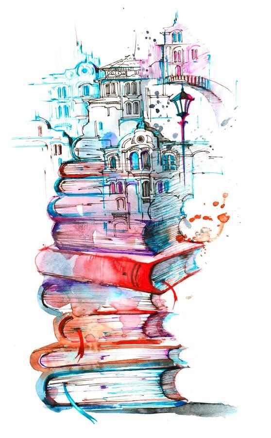 Город чтения бесплатная иллюстрация