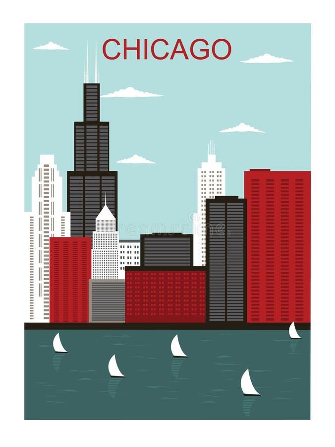 Город Чiкаго. иллюстрация вектора