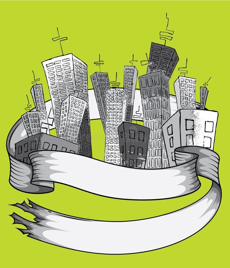 Город шаржа с высокорослыми небоскребами с бумажной лентой иллюстрация штока
