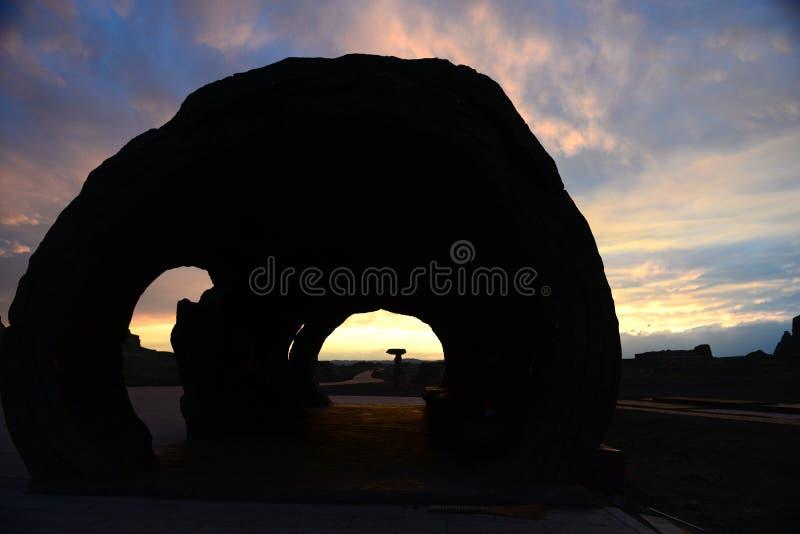 Город дьявола в заходе солнца Синьцзян-Уйгурский автономный район стоковое фото