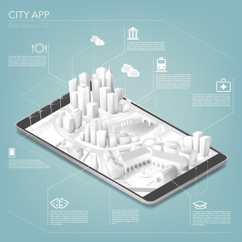 Город app иллюстрация вектора
