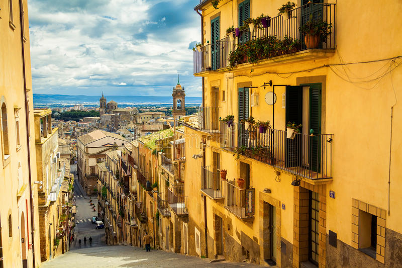 Город Caltagirone, Сицилия стоковая фотография rf