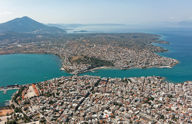 Город Chalkis, Греции, вида с воздуха стоковые фотографии rf