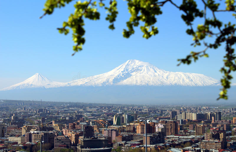 Город Mount Ararat и Еревана стоковые фотографии rf