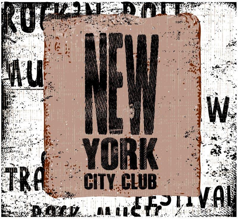 город New York Конструкция год сбора винограда Предпосылка Grunge Оформление, t- иллюстрация штока
