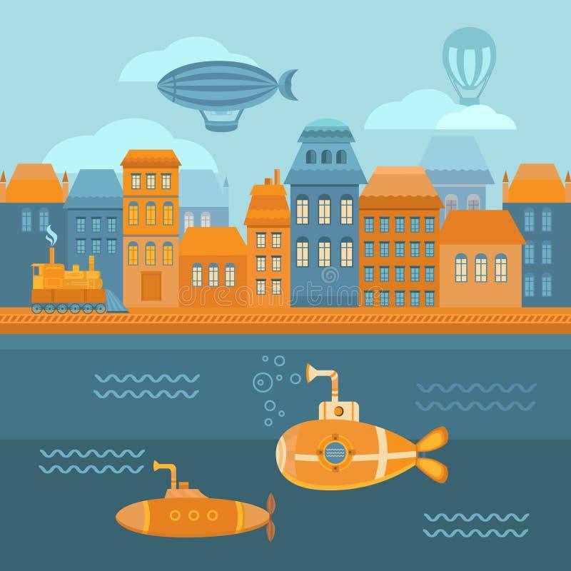 Город steampunk иллюстрации иллюстрация вектора