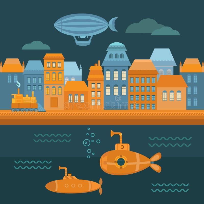 Город steampunk иллюстрации бесплатная иллюстрация