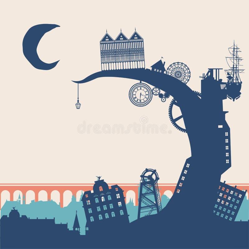 Город Steampunk иллюстрация вектора