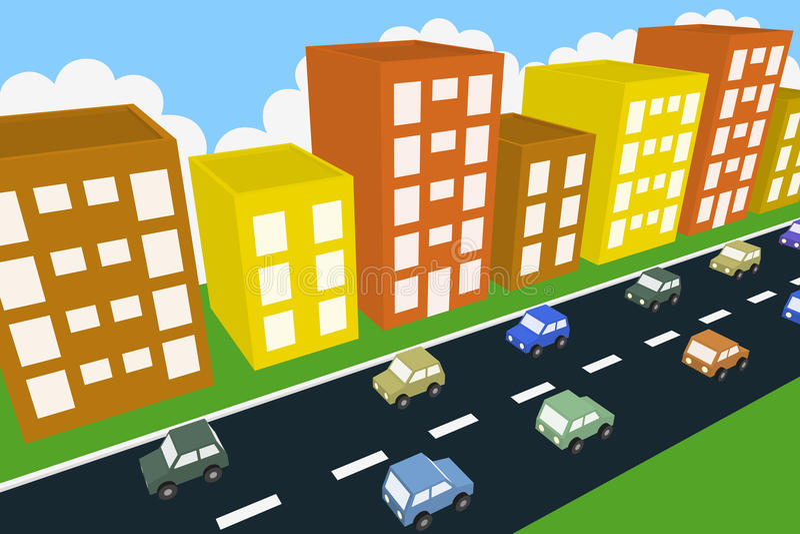 Город trraffic иллюстрация вектора