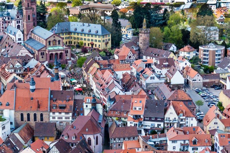 Город Weinheim от Burg Windeck, Германии стоковые изображения rf