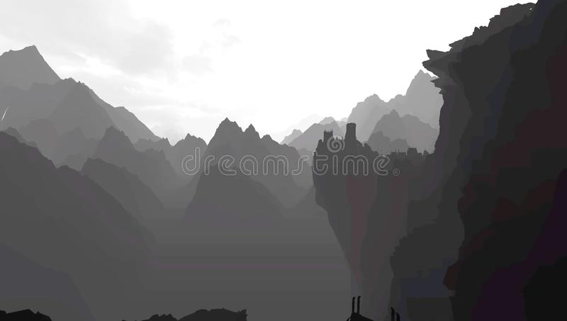 Горы в серой шкале иллюстрация штока