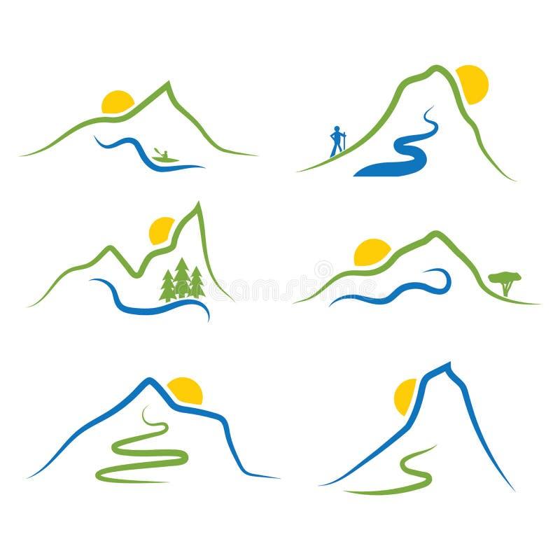 Горы, деревья и солнце иллюстрация вектора