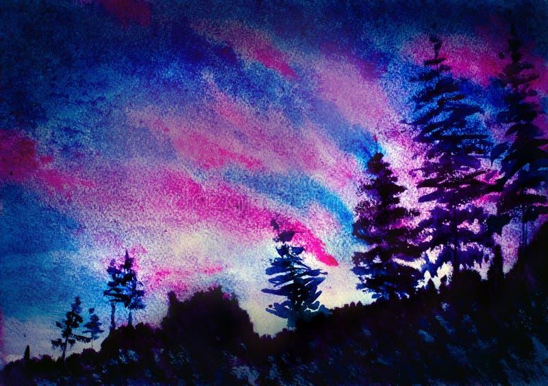 Горы и деревья захода солнца бесплатная иллюстрация