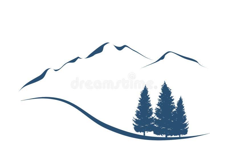 Горы и ели иллюстрация вектора