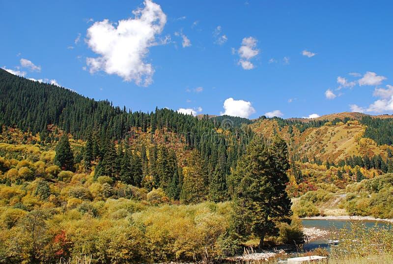 Горы и реки под голубым небом стоковые фото