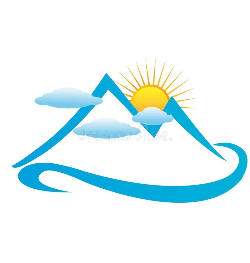 Горы и солнце облаков иллюстрация штока