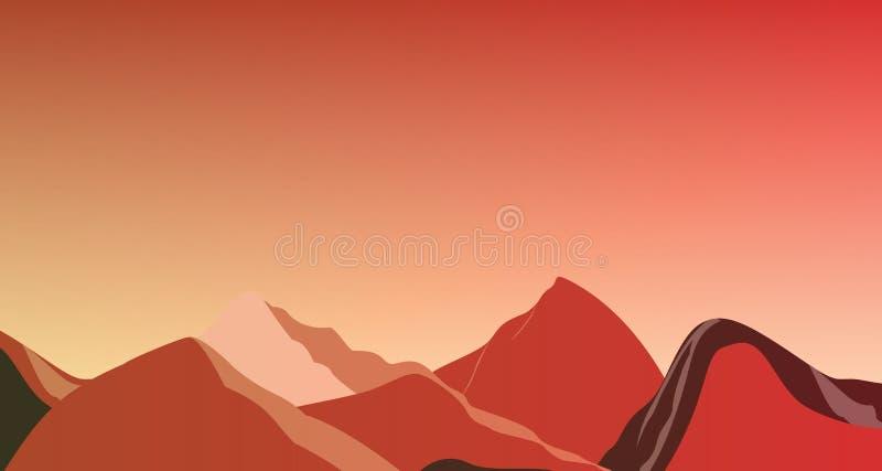 Горы ландшафта красные на иллюстрации Марса стоковые фотографии rf