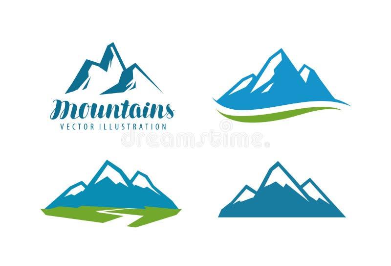 Горы, логотип утеса или ярлык Альпинизм, взбираясь, значок alpinism также вектор иллюстрации притяжки corel иллюстрация штока