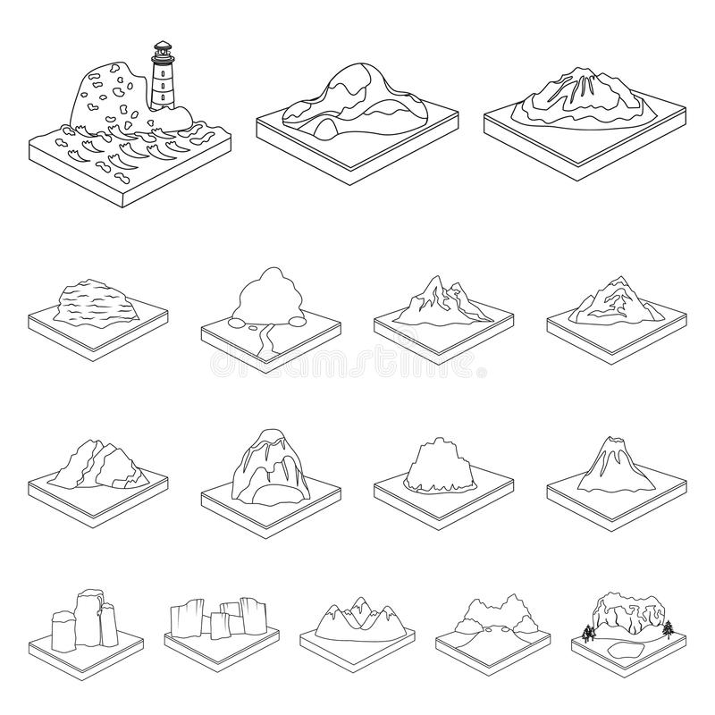 Горы, массивнейшие значки плана в собрании комплекта для дизайна Поверхность запаса символа вектора земли равновеликого иллюстрация вектора
