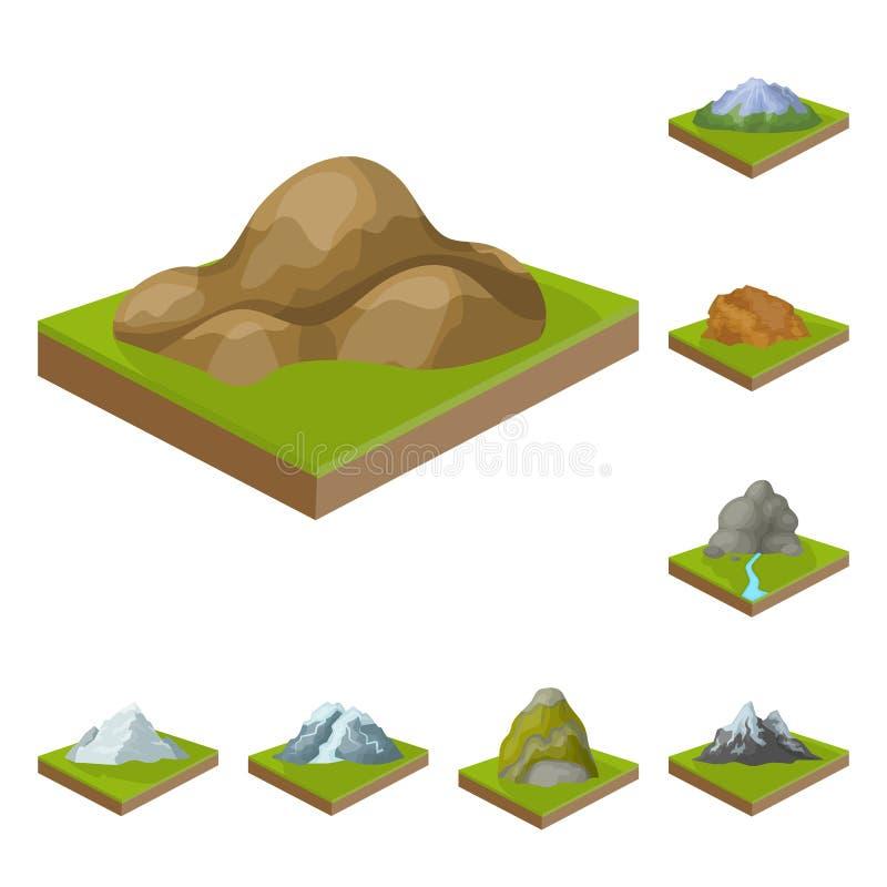 Горы, массивнейшие значки шаржа в собрании комплекта для дизайна Поверхность запаса символа вектора земли равновеликого иллюстрация штока