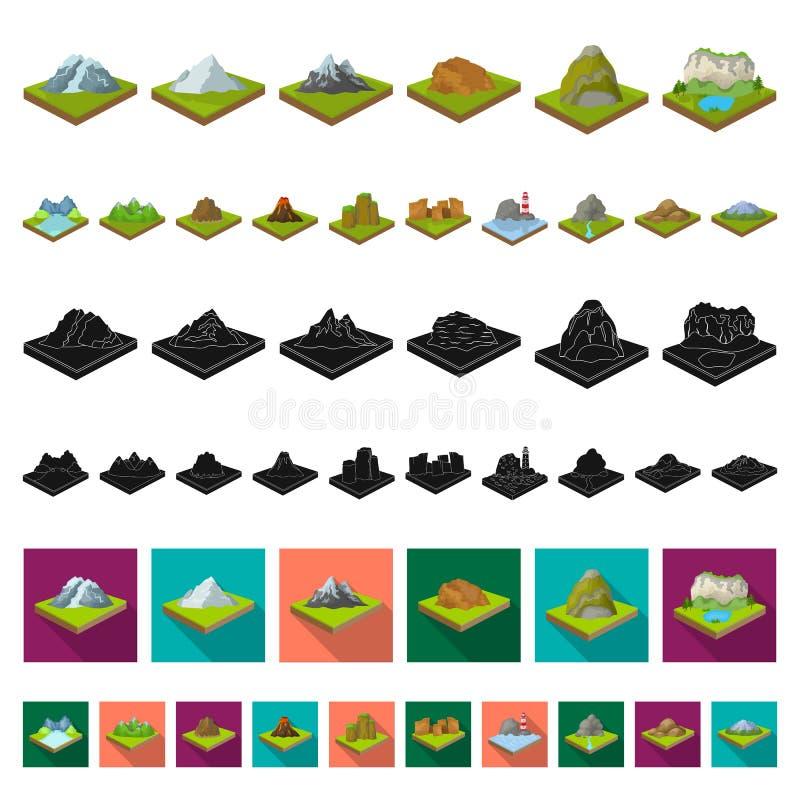 Горы, массивнейшие значки шаржа в собрании комплекта для дизайна Поверхность запаса символа вектора земли равновеликого бесплатная иллюстрация