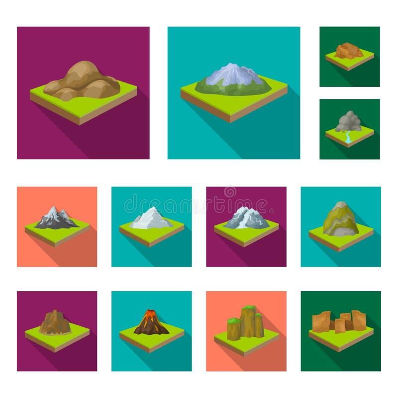 Горы, массивнейшие плоские значки в собрании комплекта для дизайна Поверхность сети запаса символа вектора земли равновеликой бесплатная иллюстрация
