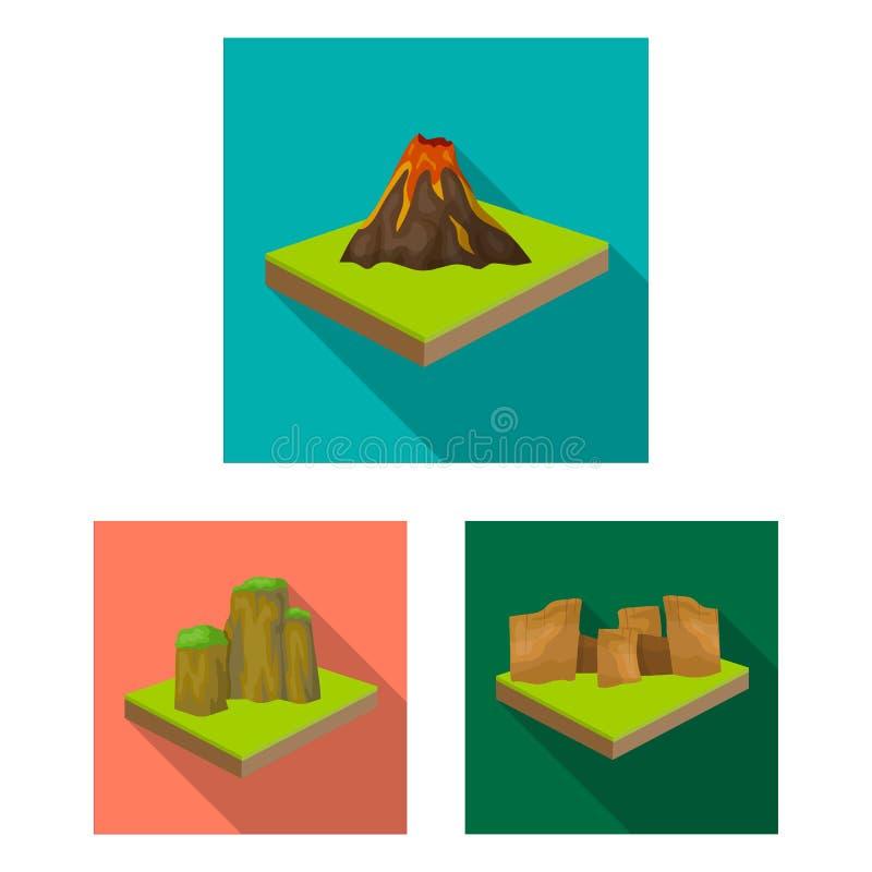 Горы, массивнейшие плоские значки в собрании комплекта для дизайна Поверхность сети запаса символа вектора земли равновеликой иллюстрация штока