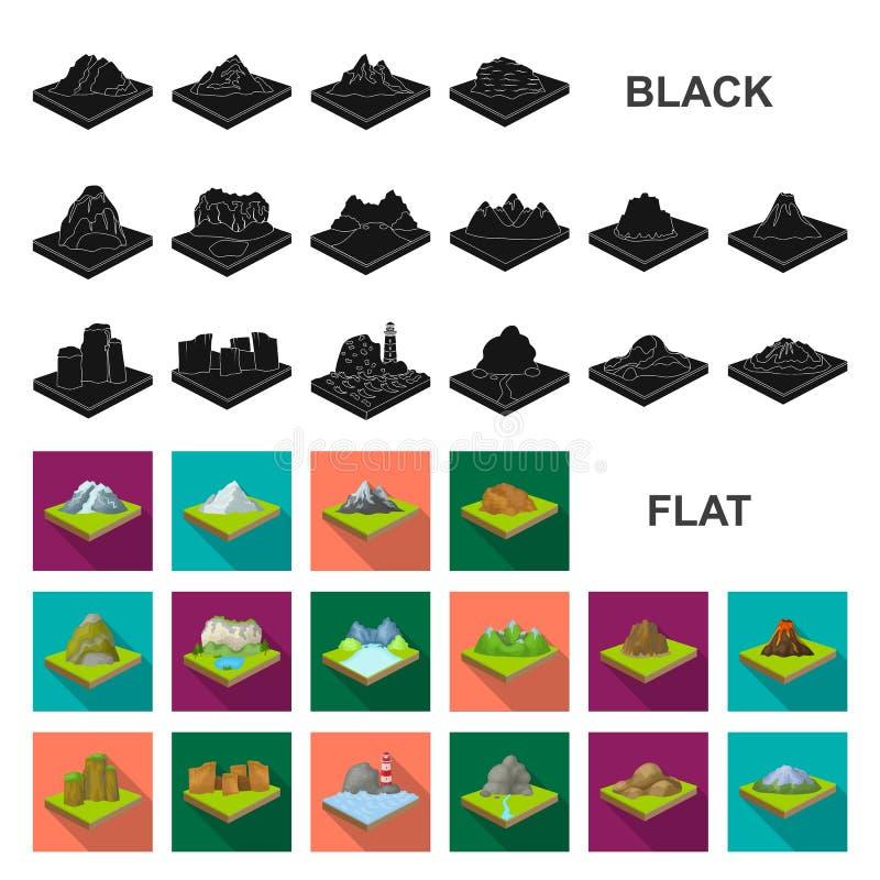 Горы, массивнейшие плоские значки в собрании комплекта для дизайна Поверхность сети запаса символа вектора земли равновеликой иллюстрация вектора
