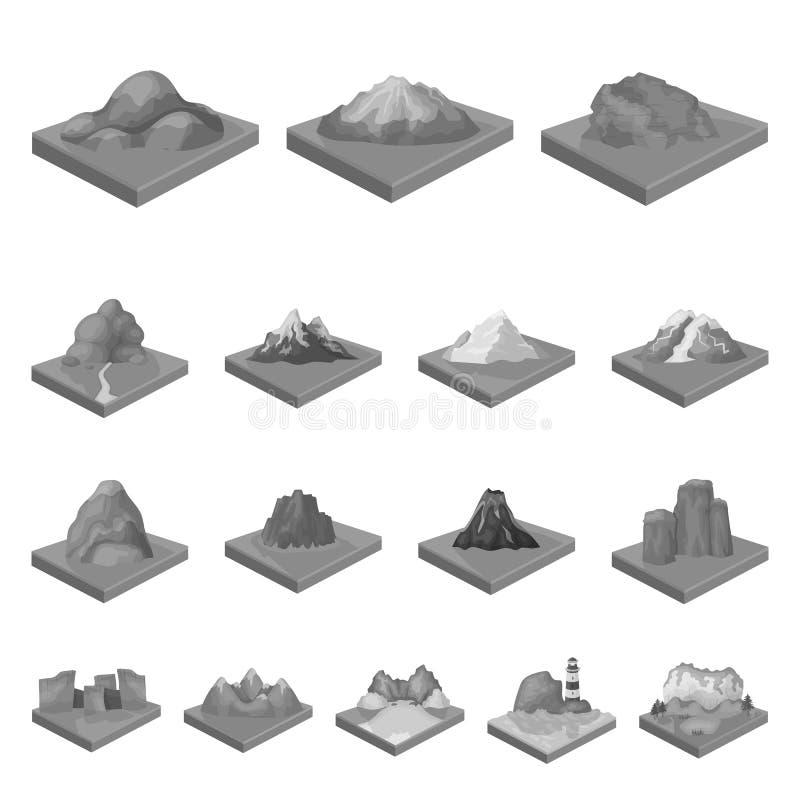 Горы, массивнейшие monochrome значки в собрании комплекта для дизайна Поверхность запаса символа вектора земли равновеликого иллюстрация вектора
