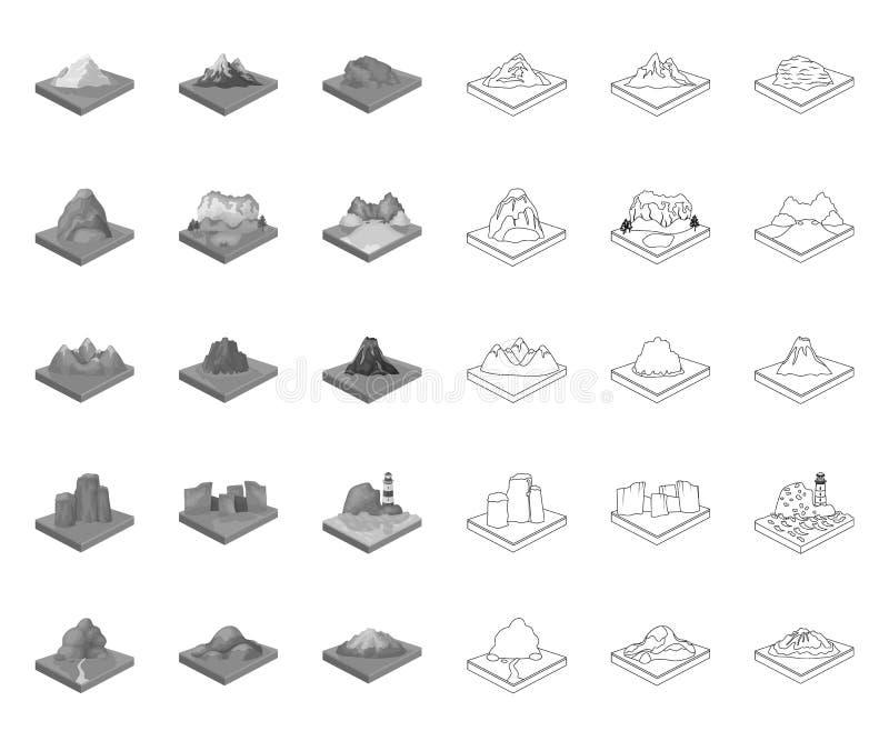 Горы, массивное mono, значки плана в установленном собрании для дизайна r иллюстрация вектора
