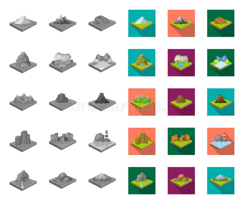 Горы, массивные mono, плоские значки в установленном собрании для дизайна Поверхность запаса символа вектора земли равновеликого иллюстрация штока