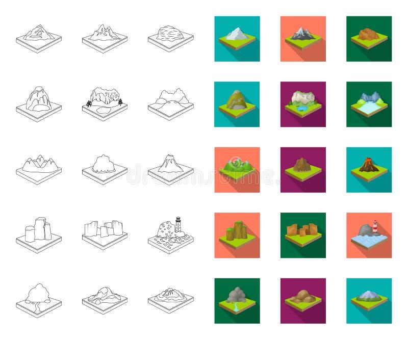 Горы, массивный план, плоские значки в установленном собрании для дизайна r иллюстрация вектора
