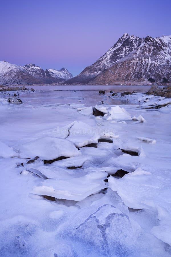 Горы над фьордом в зиме на Lofoten, Норвегии стоковое изображение