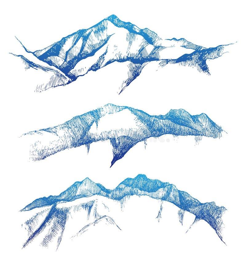 Горы нарисованные рукой иллюстрация вектора